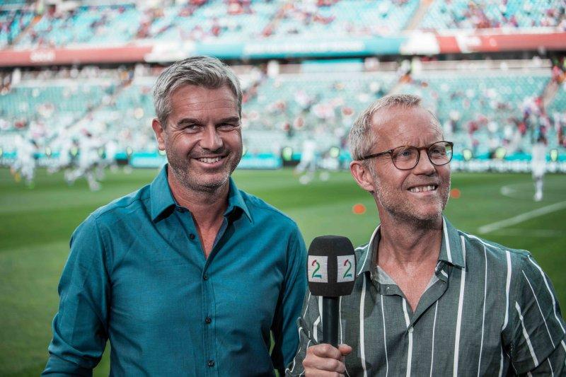 TV 2-PROFIL: Petter Myhre og Øyvind Alsaker under fotball-VM i Russland i 2018.